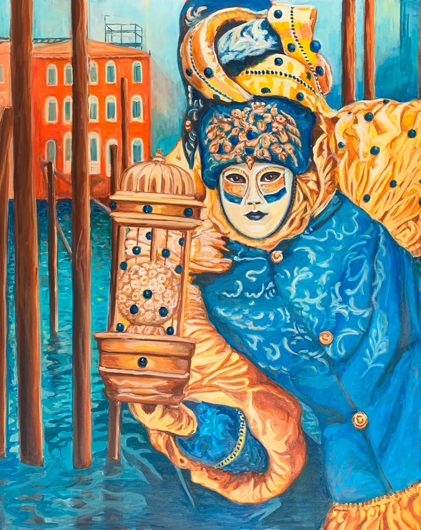 Hommage an geliebtes Venedig. Die Maskenträgerin in Blau,100 x 80 cm, 2020, Öl auf Leinwand, Tatjana Meier