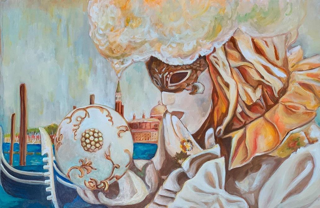 Hommage an geliebtes Venedig. Die richtige Maske (nträgerin), 90 x 60 cm, 2020, Öl auf Leinwand, Tatjana Meier