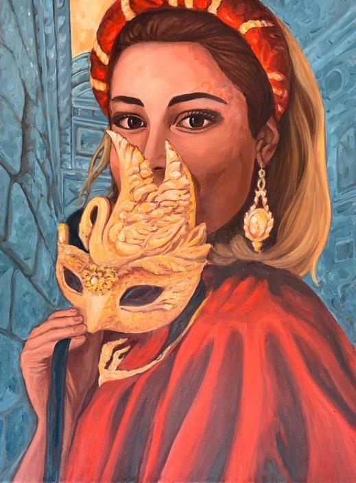 Omaggio all`amata Venezia. La mascherina rossa, 80 x 60 cm, olio su tela, 2020, Tatjana Meier