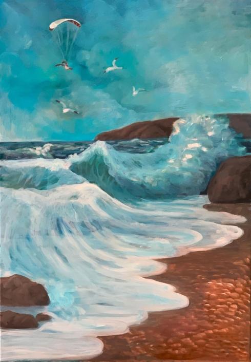 Wave, 70 x 50 cm, 2020, oil on canvas, Tatjana Meier