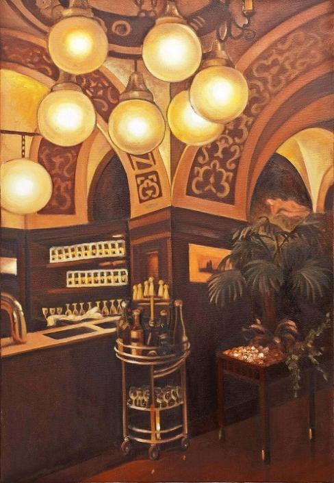 """""""Ресторан Ауэрбахскеллер"""", 90 x 60 cm, 2011, холст и масло, Татьяна Майер"""