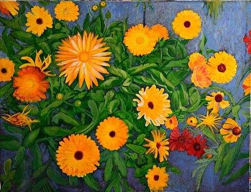 Calendula (Ringelblumen), 90 x 120 cm, 2017, Öl auf Leinwand, Tatjana Meier
