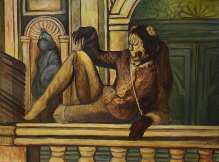 Carnevale di Venezia. Mascherina verde, 60 x 80 cm, 2020, olio su tela, Tatjana Meier