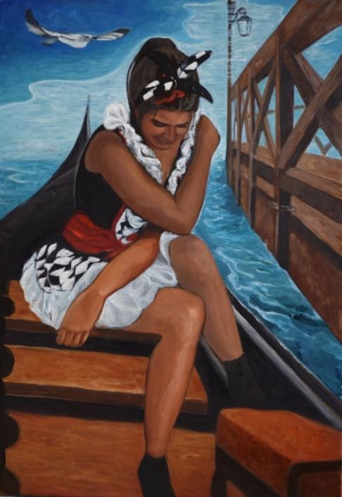 Colombina in gondola, 130 x 90 cm, 2020, olio su tela, Tatjana Meier