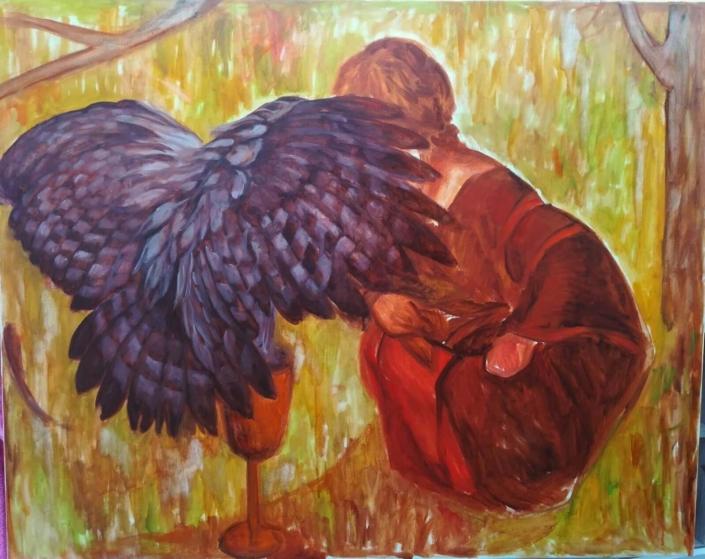 Compagni, 80 x 100 cm, 2019, olio su tela, Tatjana Meier