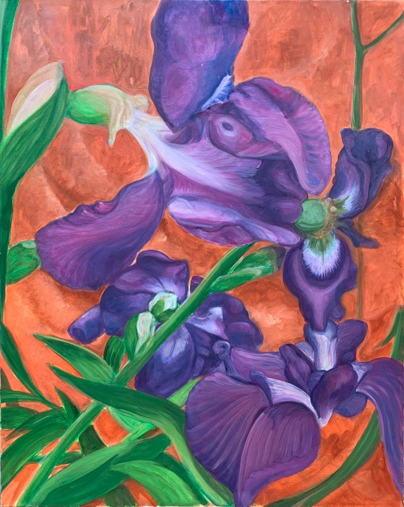 Iris, 80 x 60 cm, 2019, olio su tela, Tatjana Meier