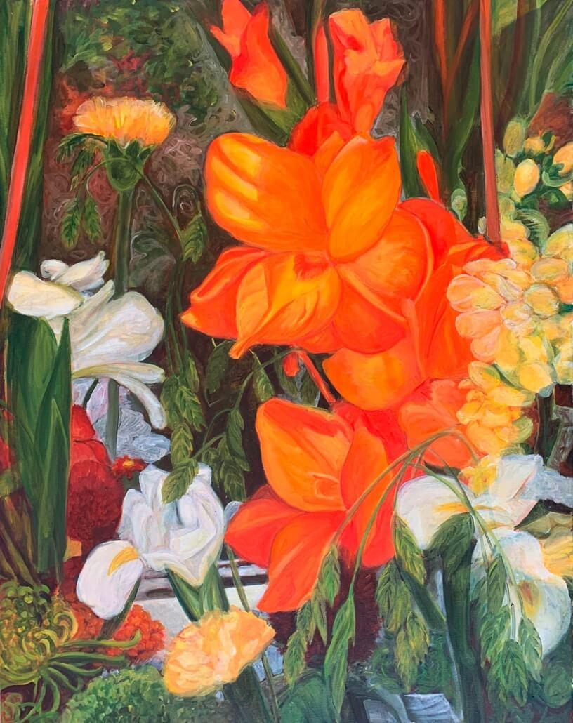 Lilien, 80 x 60 cm, 2019, Öl auf Leinwand, Tatjana Meier