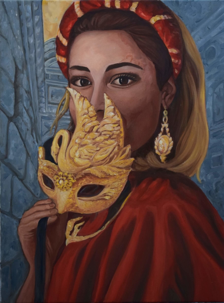 Hommage an geliebtes Venedig. Die Maskenträgerin in Rot, , 80 x 60 cm, Öl auf Leinwand, 2020, Tatjana Meier