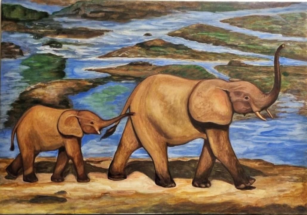 Elefanten , 60 x 80 cm, 2021, Öl auf Leinwand, Tatjana Meier